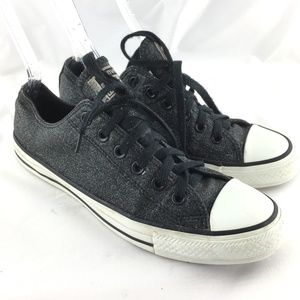 Low top chucks sneakers black glitter sparkly shoe